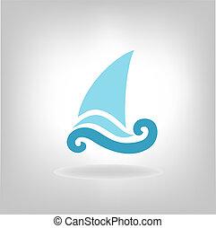 the stylized ship, boat on a light background