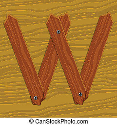 The stylized wooden letter. Vector illustration.