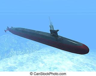 the submarine underwater