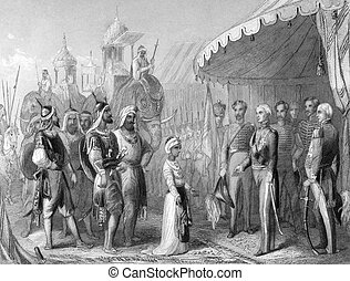 The submission of the young Maharaja Duleep Singh to Sir Henry Hardinge at the end of the 1st Sikh War on engraving from 1846. Drawn and engraved by H.K.Browne.