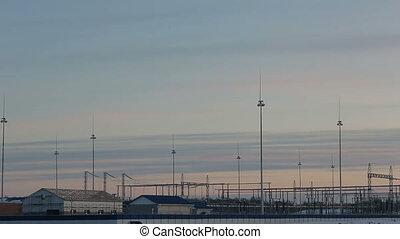 The substation against the sky.