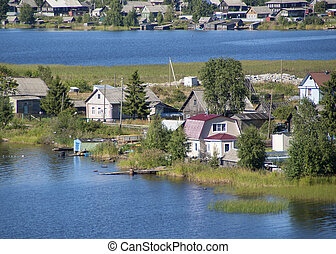 The suburbs of city on a lake