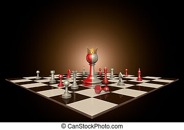 The successful personality - Chess pieces on a dark...