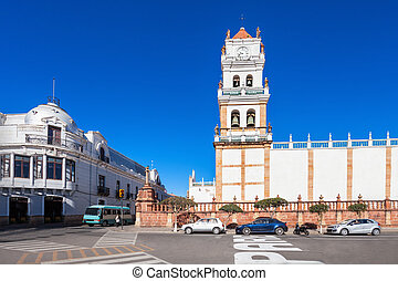 The Sucre Cathedral (Metropolitan Cathedral of Sucre) on Plaza 25 de Mayo square in Sucre, Bolivia.