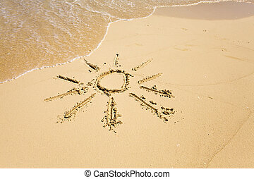 The sun - a picture on sand