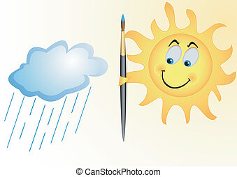 The sun and rain cloud