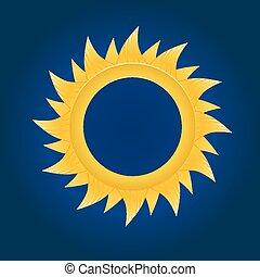The sun circle. On blue sky background.