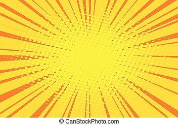 The sun comic book retro pop art background