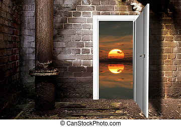 the sun door in the brick wall