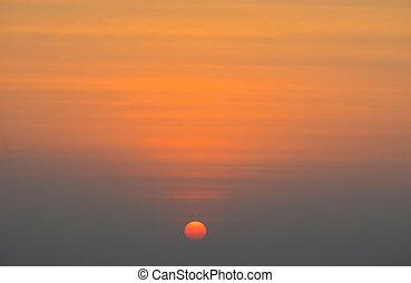 The sun goes down in Bangkok City, Thailand
