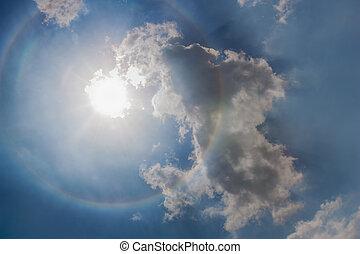 The sun halo. - Sun halo with cloud in the sky
