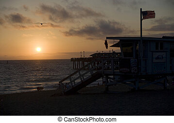 The sun setting on a Southern California beach.