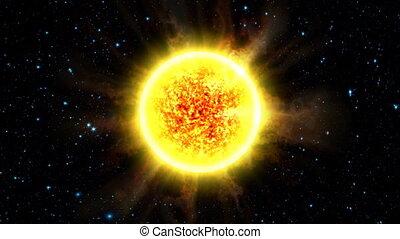 The Sun - Slowly orbiting around a sun with radiating solar...