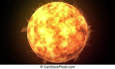 The Sun - Beautiful 3d animation of The Sun with fire and...
