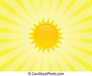 The sun on sunbeam background.