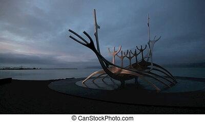 The Sun Voyager in Reykjavik - The landmark Sun Voyager in...
