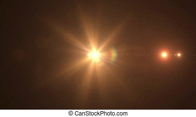 The sunbeam increases in motion on a black background HD