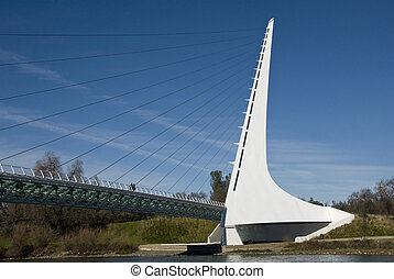 The Sundial Bridge is a unique one of a kind bridge streching accross the Sacramento river in Redding California. It does tell the time
