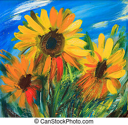 The sunflowers drawn by oil on canvas