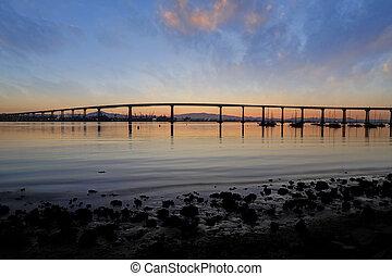 The Sunrise over the Coronado Bridge in San Diego, California