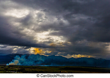 The sunset and heavy clouds