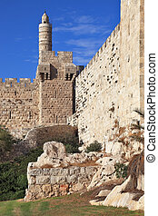 The sunset gently illuminates the Tower of David - The walls...