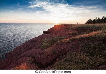 The sunset on atlantic ocean