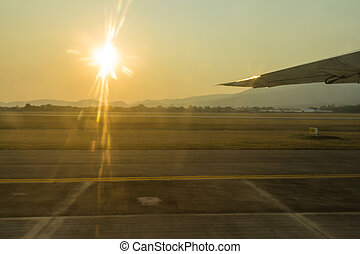 The sunset with airport.