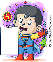 The super space boy holding the big blank board in his hands
