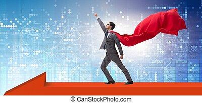 The superhero businessman standing on arrow