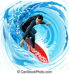 The Surfer - Illustration with young man sliding on a surf...