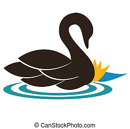 Beautiful swan illustration swimming near the water lily, the feeling of calmness and purity. Harmonic colors. Can be used also as company symbol or icon.