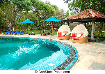 The swimming pool at luxury hotel, Bentota, Sri Lanka