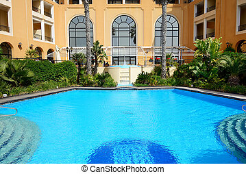 The swimming pool at luxury hotel, Malta