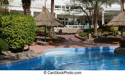 The swimming pool at luxury hotel