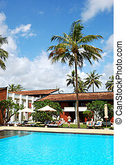 The swimming pool at luxury hotel, Bentota, Sri Lanka