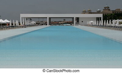 The swimming pool at the modern luxury hotel, Antalya,...