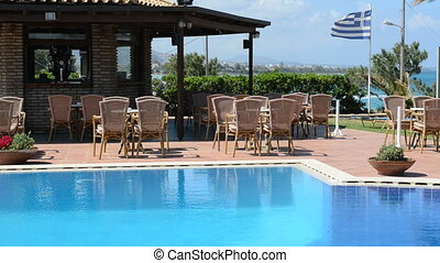 The swimming pool near bar