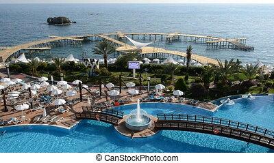 The swimming pool near beach at the luxury hotel, Antalya, ...