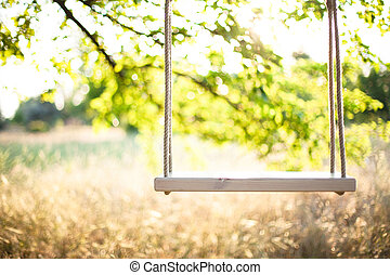 Swing on ropes under the big tree