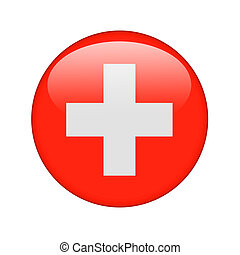 The Swiss flag in the form of a glossy icon.