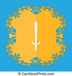 the sword. Floral flat design on a blue abstract background with place for your text.