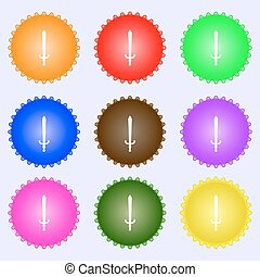 the sword icon sign. A set of nine different colored labels. Vector