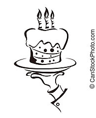 the symbol of cake holdling hand