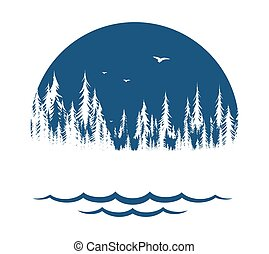 The Symbol of forest with lake.
