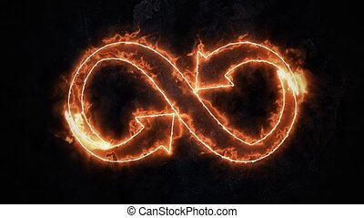 The symbol of infinity glows in the fire. Infinity 37 - The...