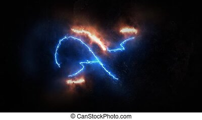 The symbol of infinity glows in the plasma. Infinity 34 -...