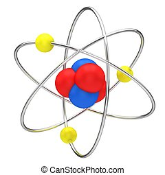 The symbol of nuclear technology isolated on a white...