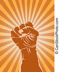 powerful fist - the symbol of powerful fist on sunray...