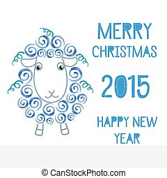 The symbol of the new 2015 sheep, goats, vector watercolor...